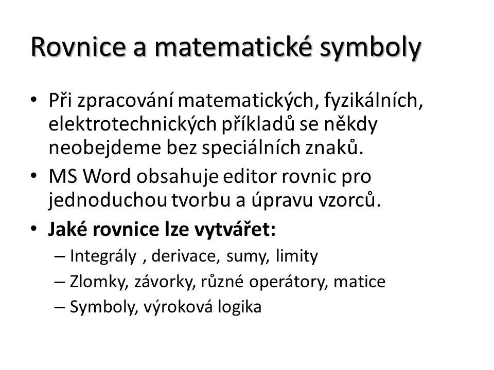 Rovnice a matematické symboly