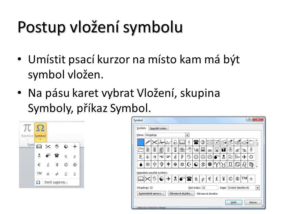 Postup vložení symbolu