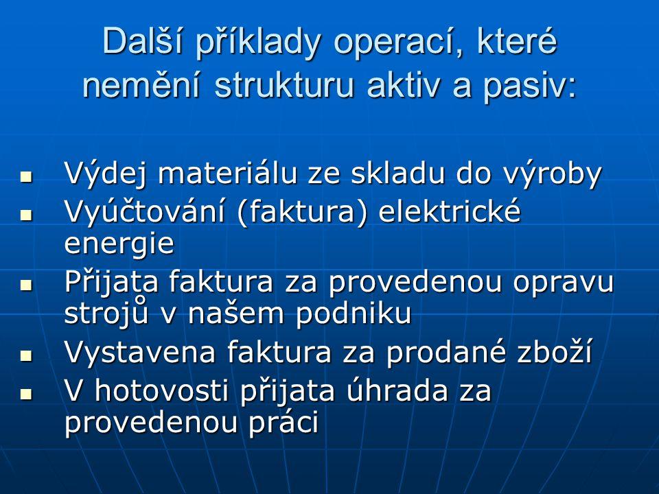 Další příklady operací, které nemění strukturu aktiv a pasiv: