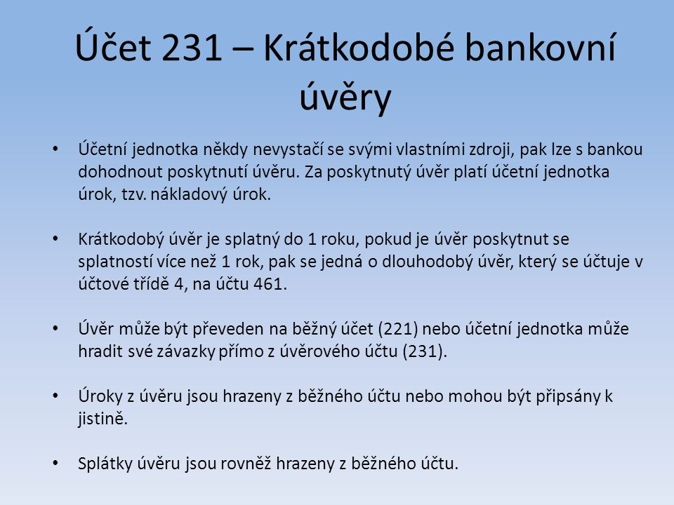 Účet 231 – Krátkodobé bankovní úvěry