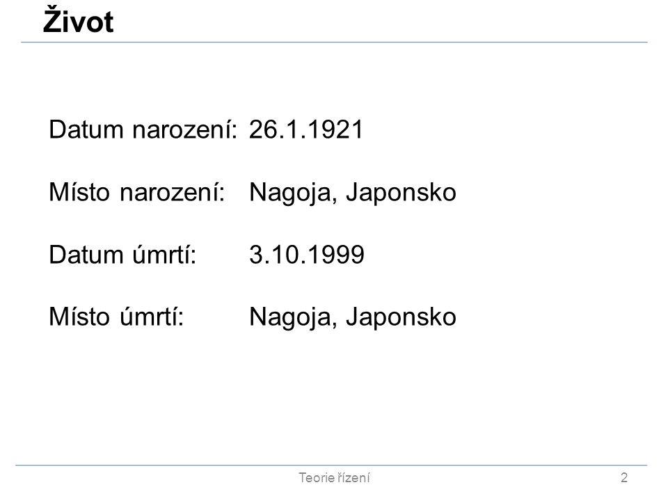 Život Datum narození: 26.1.1921 Místo narození: Nagoja, Japonsko
