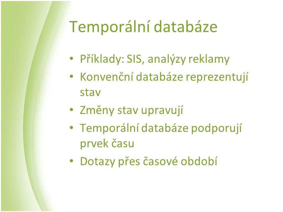 Temporální databáze Příklady: SIS, analýzy reklamy