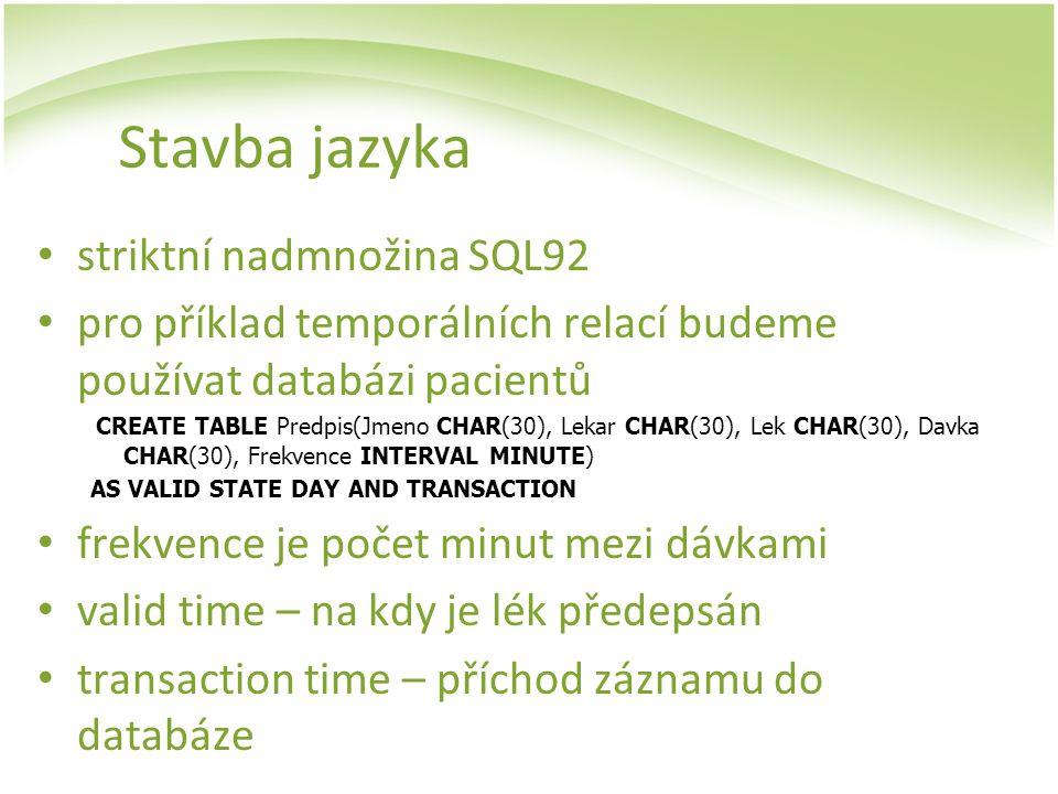 Stavba jazyka striktní nadmnožina SQL92