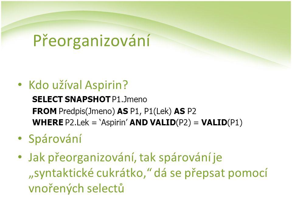 Přeorganizování Kdo užíval Aspirin Spárování