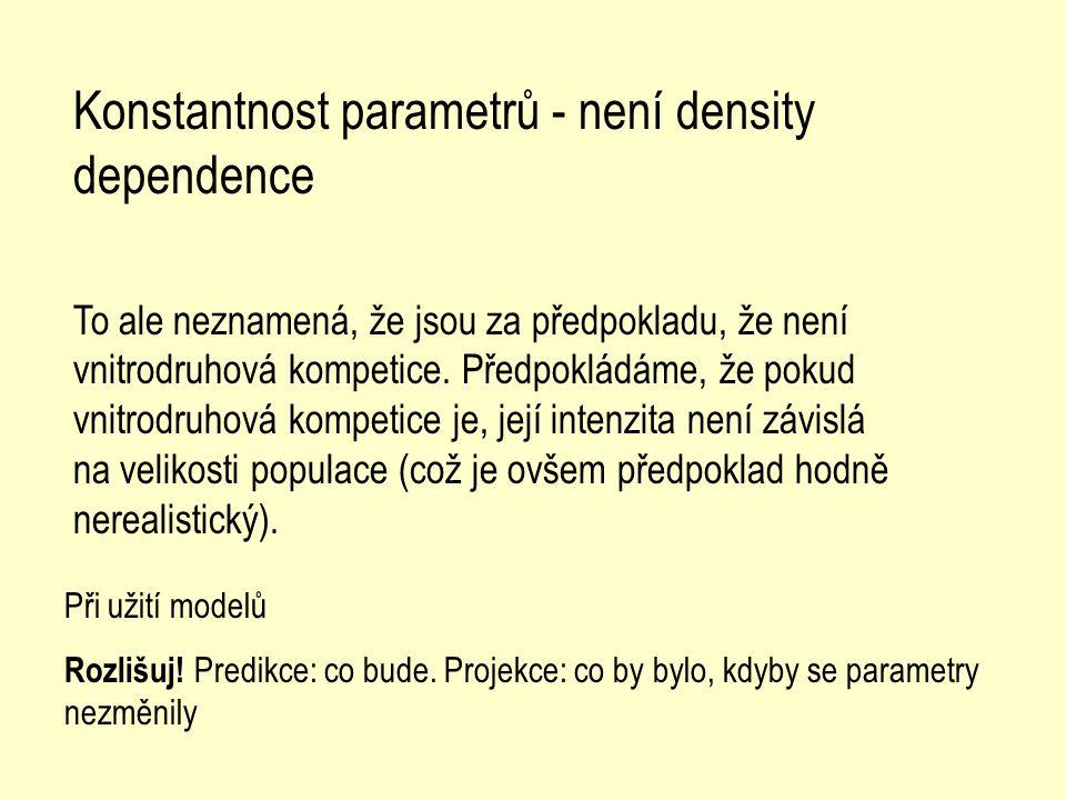 Konstantnost parametrů - není density dependence