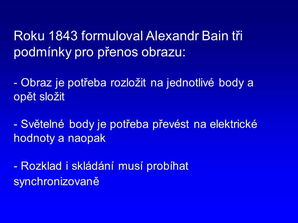 Roku 1843 formuloval Alexandr Bain tři podmínky pro přenos obrazu: - Obraz je potřeba rozložit na jednotlivé body a opět složit - Světelné body je potřeba převést na elektrické hodnoty a naopak - Rozklad i skládání musí probíhat synchronizovaně