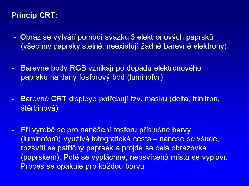 Princip CRT: - Obraz se vytváří pomocí svazku 3 elektronových paprsků (všechny paprsky stejné, neexistují žádné barevné elektrony)
