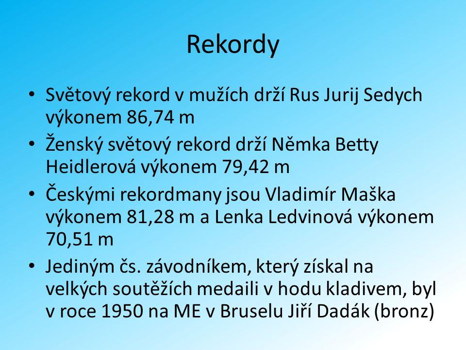 Rekordy Světový rekord v mužích drží Rus Jurij Sedych výkonem 86,74 m