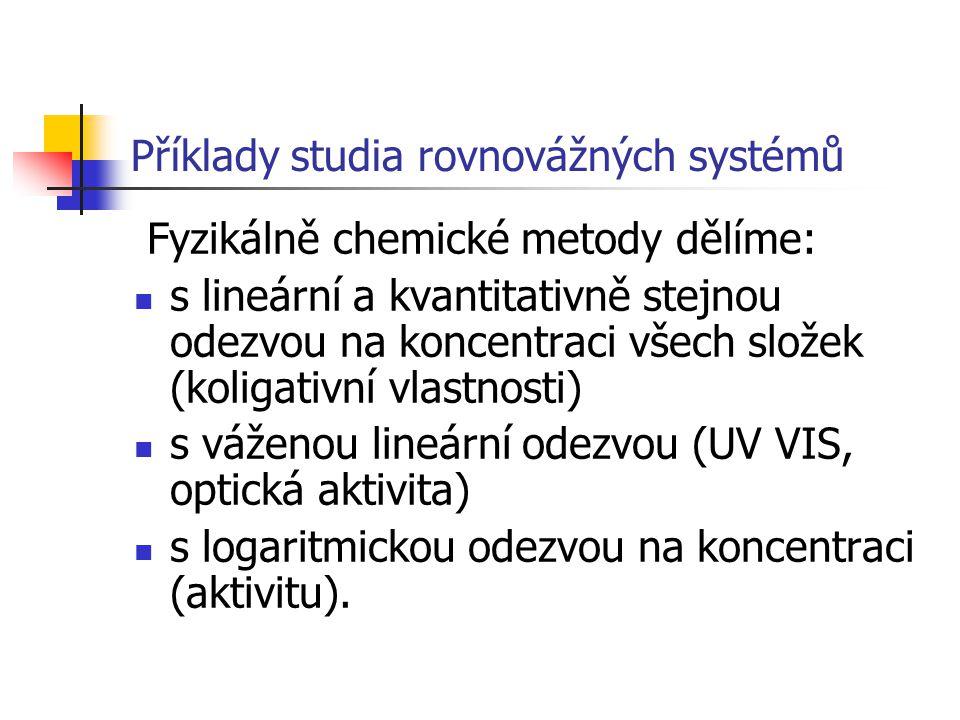 Příklady studia rovnovážných systémů