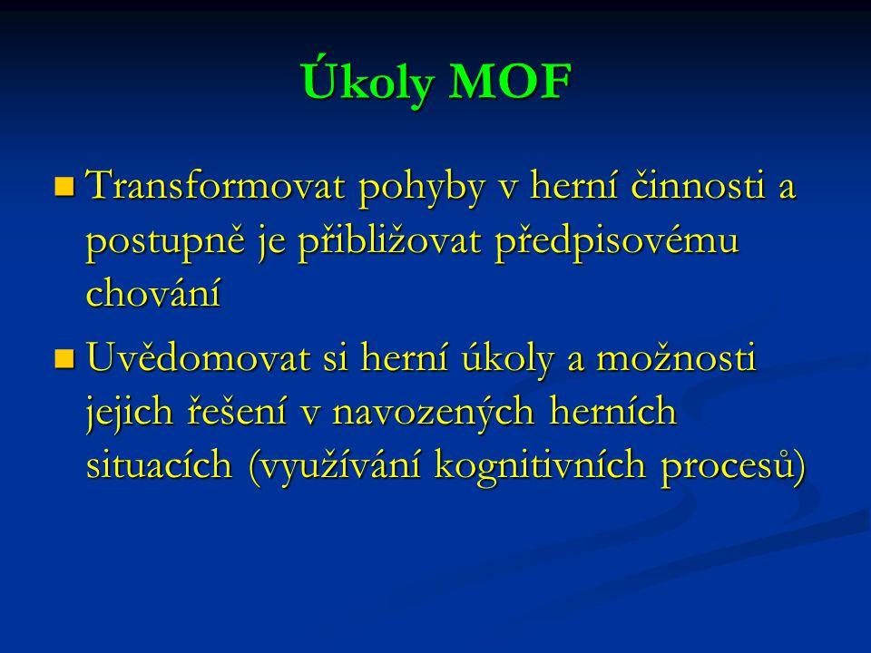 Úkoly MOF Transformovat pohyby v herní činnosti a postupně je přibližovat předpisovému chování.