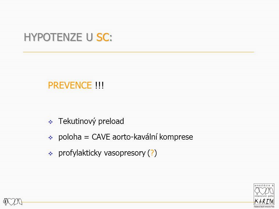HYPOTENZE U SC: PREVENCE !!! Tekutinový preload