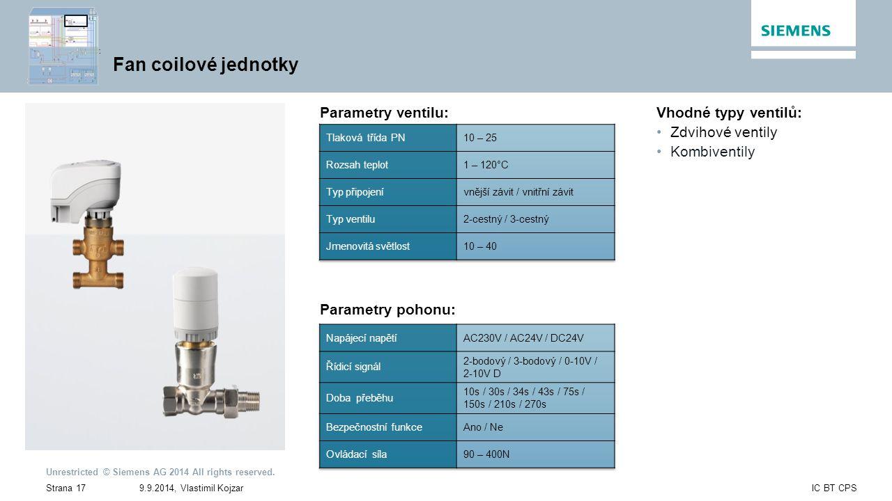 Fan coilové jednotky Parametry ventilu: Vhodné typy ventilů: