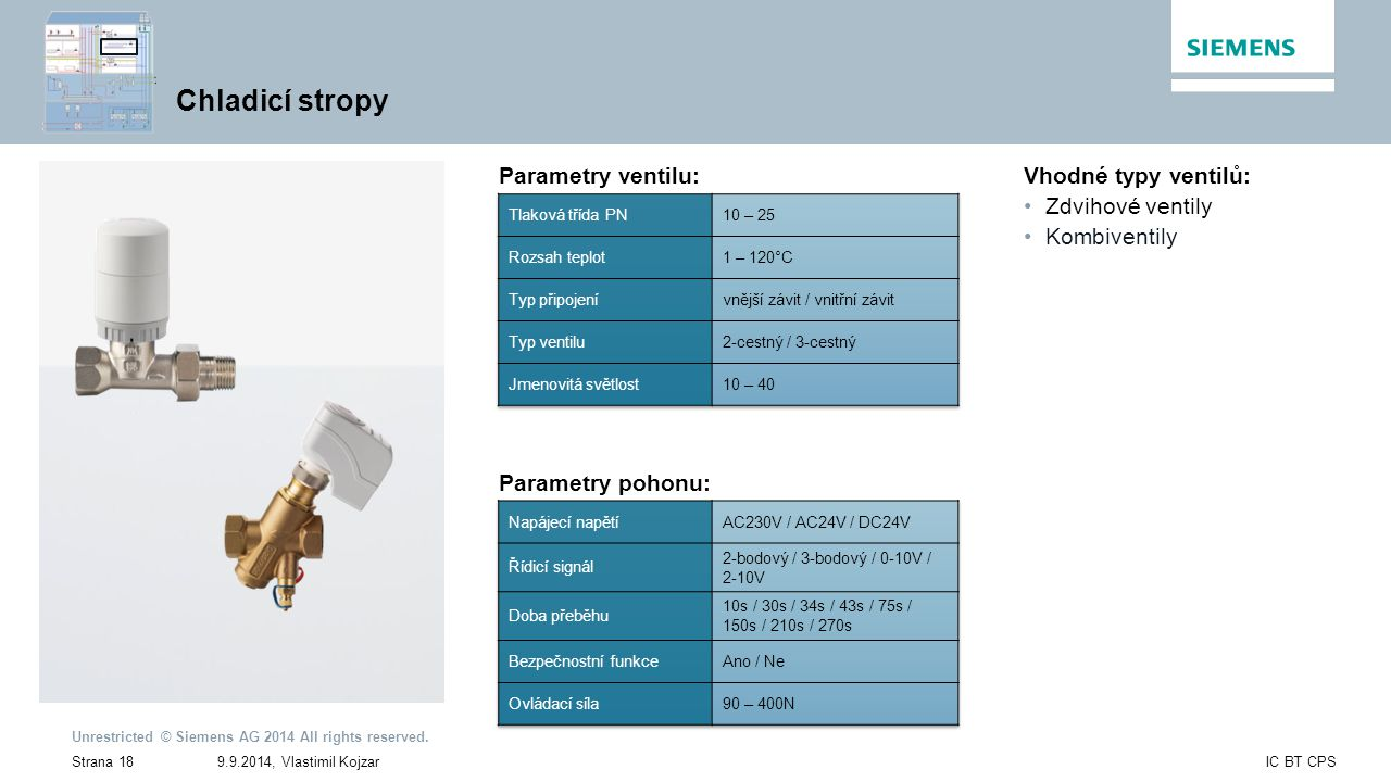 Chladicí stropy Parametry ventilu: Vhodné typy ventilů: