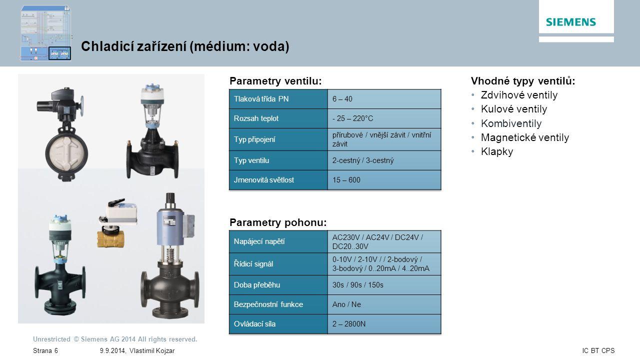 Chladicí zařízení (médium: voda)