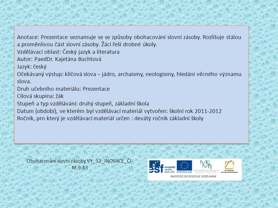 Obohacování slovní zásoby VY_32_INOVACE_ČJ-M.9.13