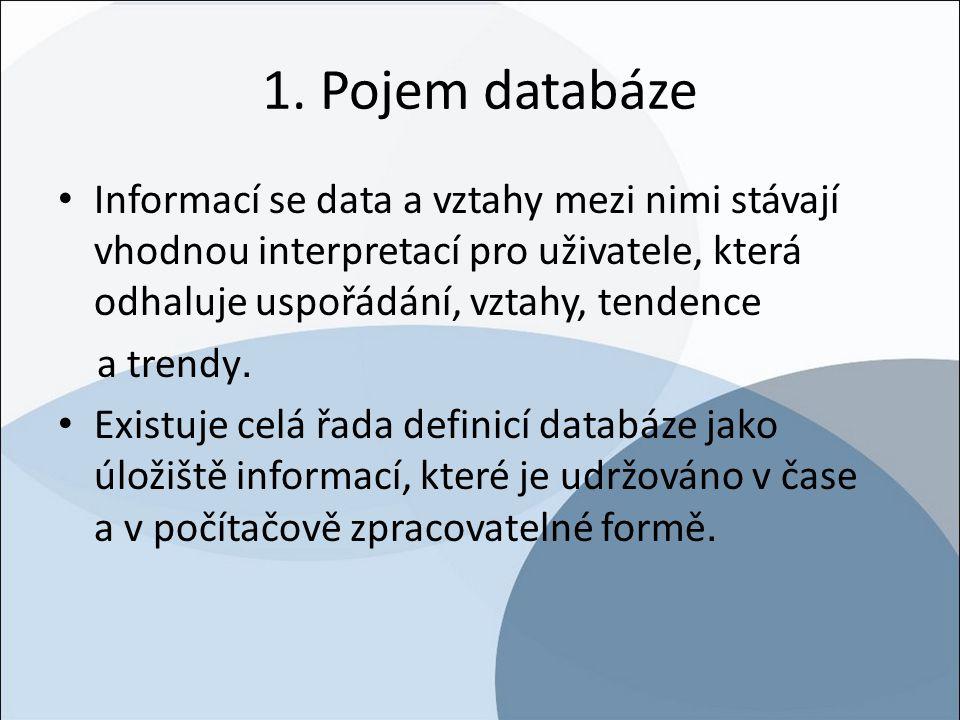 1. Pojem databáze Informací se data a vztahy mezi nimi stávají vhodnou interpretací pro uživatele, která odhaluje uspořádání, vztahy, tendence.