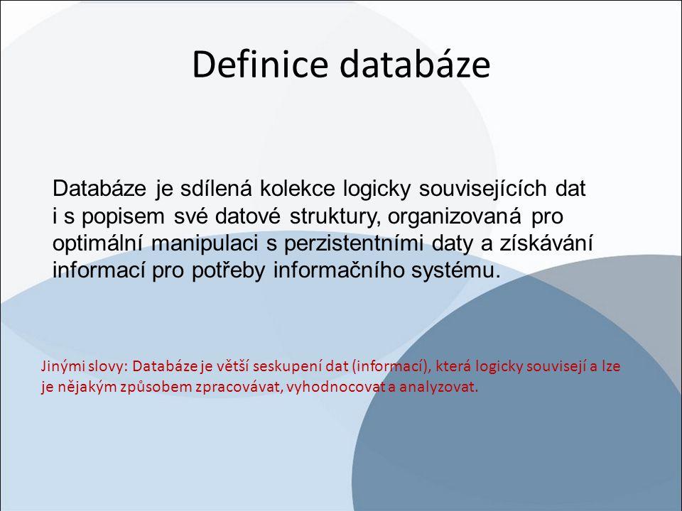 Definice databáze Databáze je sdílená kolekce logicky souvisejících dat.