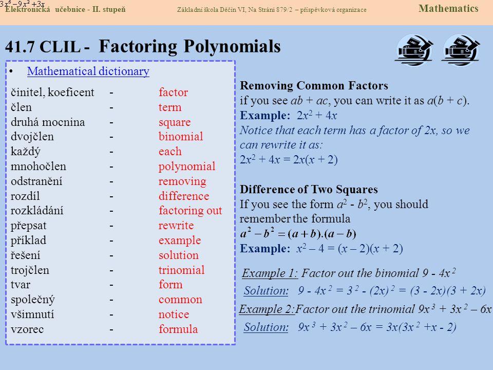 41.7 CLIL - Factoring Polynomials