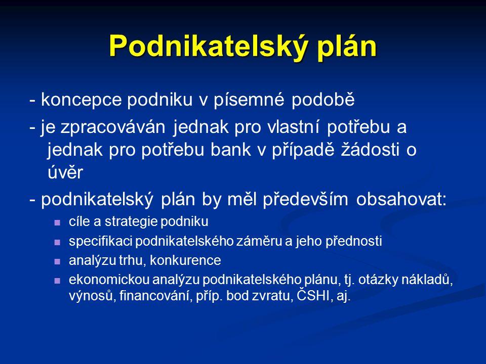 Podnikatelský plán - koncepce podniku v písemné podobě