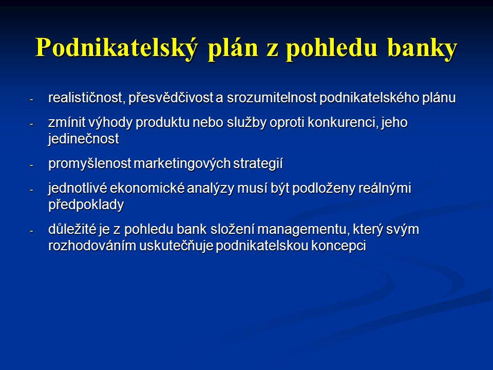 Podnikatelský plán z pohledu banky