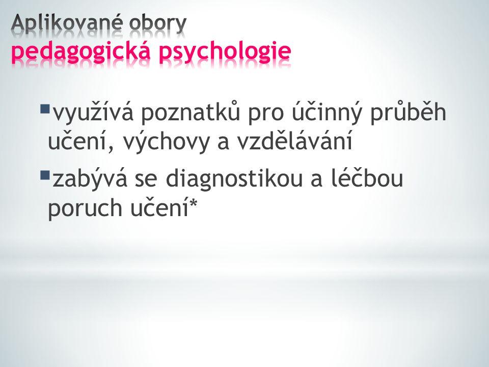 Aplikované obory pedagogická psychologie