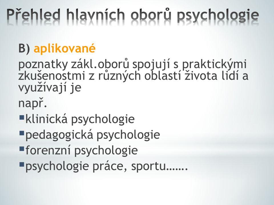 Přehled hlavních oborů psychologie