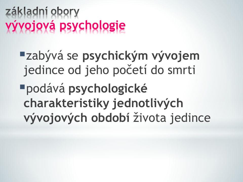 základní obory vývojová psychologie