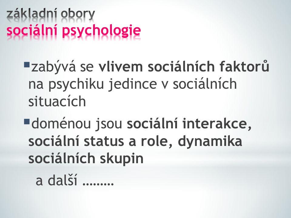 základní obory sociální psychologie