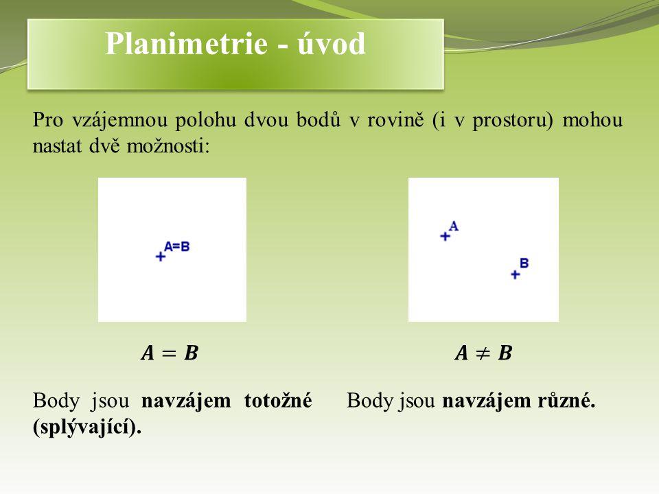 Planimetrie - úvod Pro vzájemnou polohu dvou bodů v rovině (i v prostoru) mohou nastat dvě možnosti: