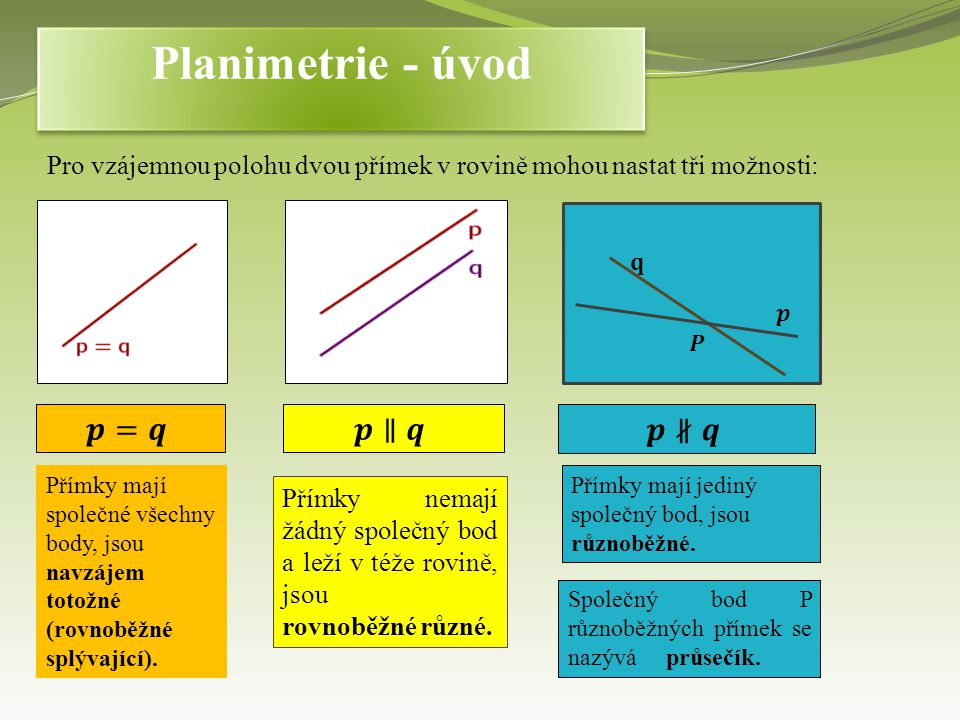 Planimetrie - úvod 𝒑=𝒒 𝒑∥𝒒 𝒑∦𝒒