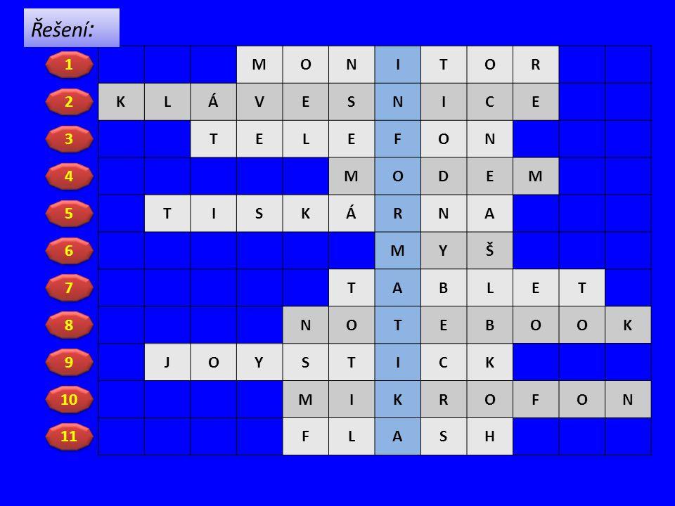 Řešení: M O N I T R K L Á V E S C F D A Y Š B J H 1 2 3 4 5 6 7 8 9 10