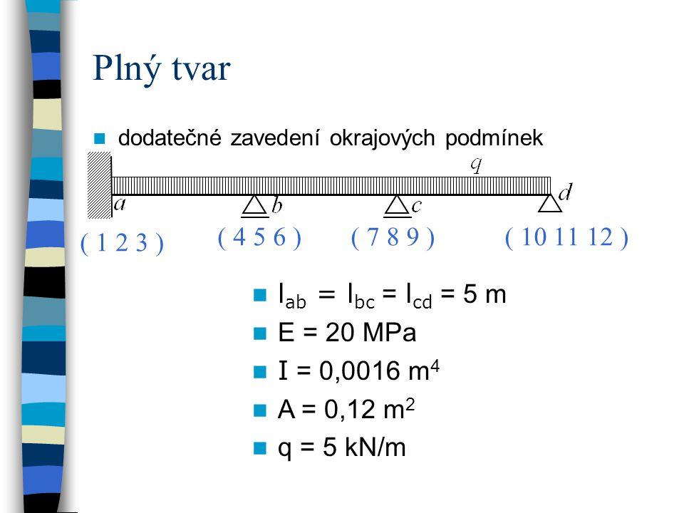 Plný tvar dodatečné zavedení okrajových podmínek. ( 4 5 6 ) ( 7 8 9 ) ( 10 11 12 ) ( 1 2 3 ) lab = lbc = lcd = 5 m.