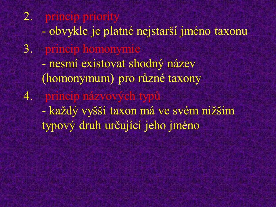 princip priority - obvykle je platné nejstarší jméno taxonu