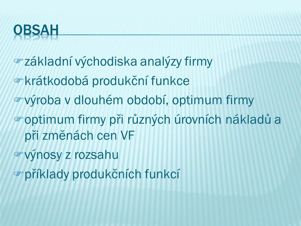 Obsah základní východiska analýzy firmy krátkodobá produkční funkce