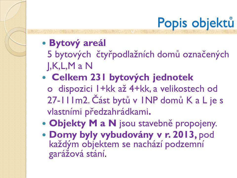 Popis objektů Bytový areál 5 bytových čtyřpodlažních domů označených