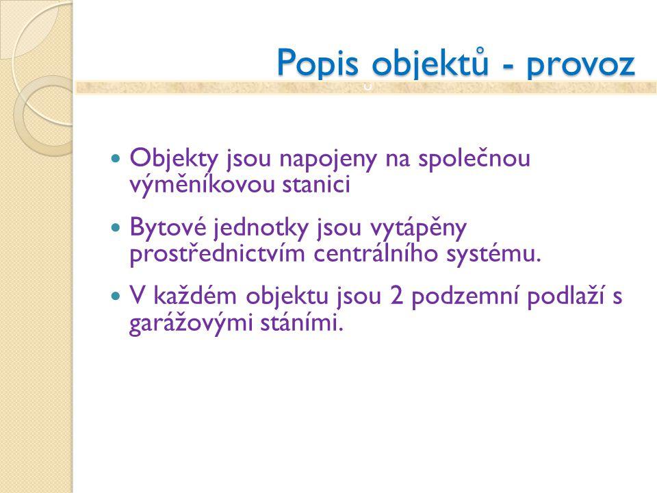 c Popis objektů - provoz. Objekty jsou napojeny na společnou výměníkovou stanici.