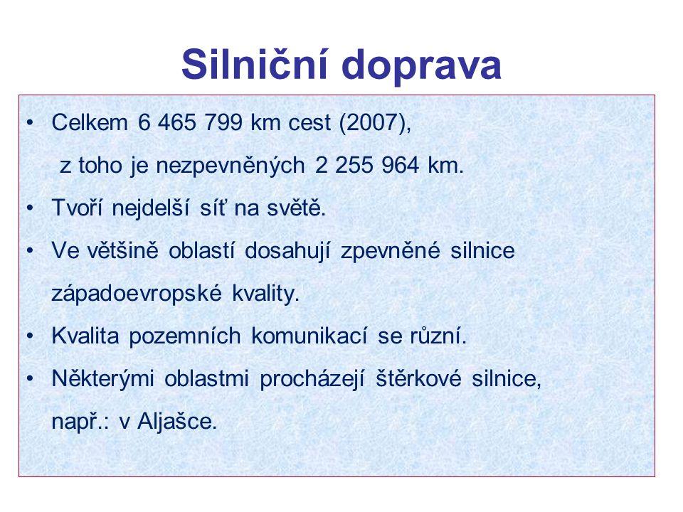 Silniční doprava Celkem 6 465 799 km cest (2007),