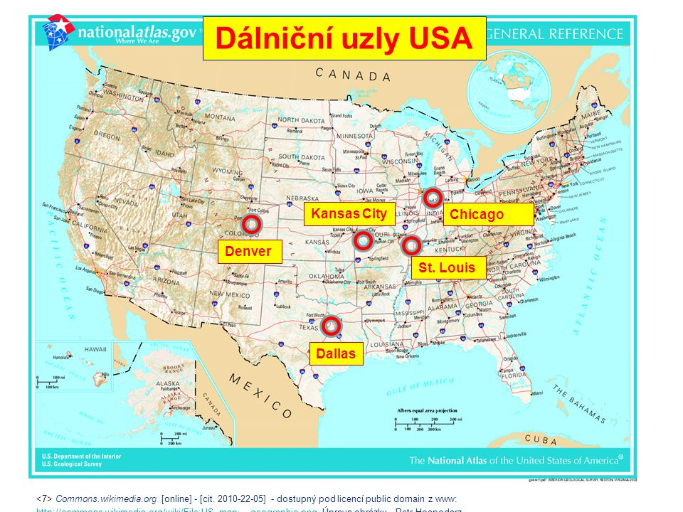 Dálniční uzly USA Kansas City Chicago Denver St. Louis Dallas