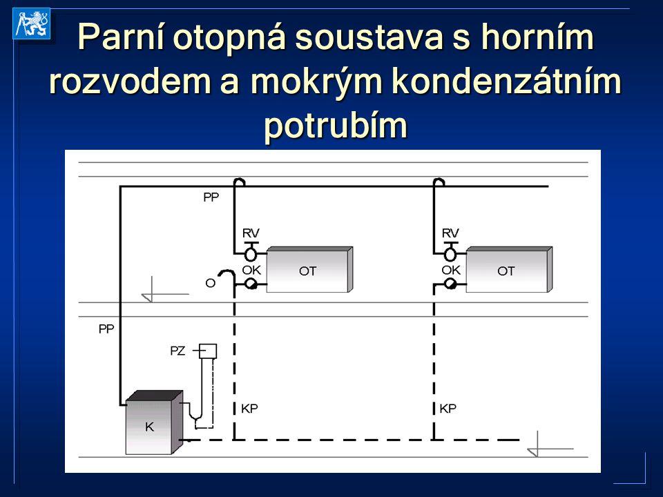 Parní otopná soustava s horním rozvodem a mokrým kondenzátním potrubím