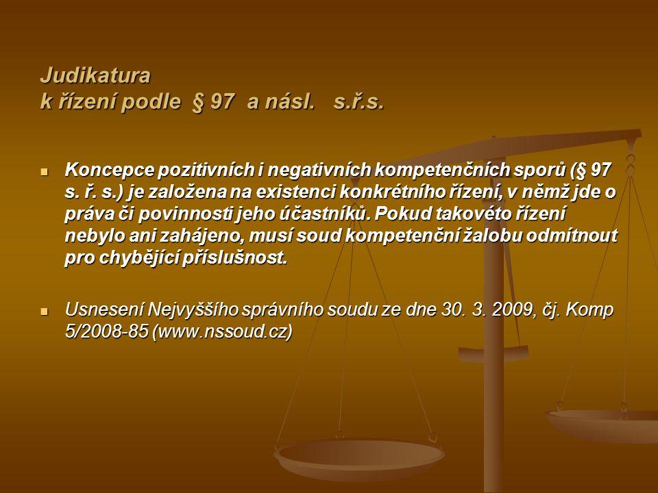 Judikatura k řízení podle § 97 a násl. s.ř.s.