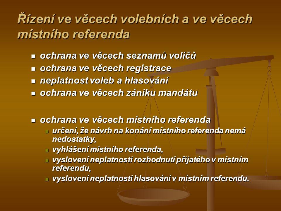 Řízení ve věcech volebních a ve věcech místního referenda
