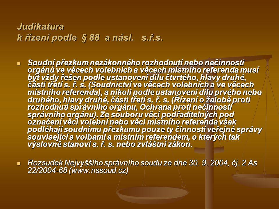 Judikatura k řízení podle § 88 a násl. s.ř.s.