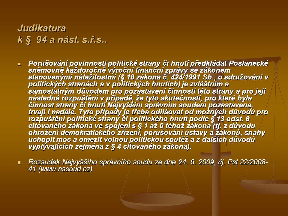 Judikatura k § 94 a násl. s.ř.s..