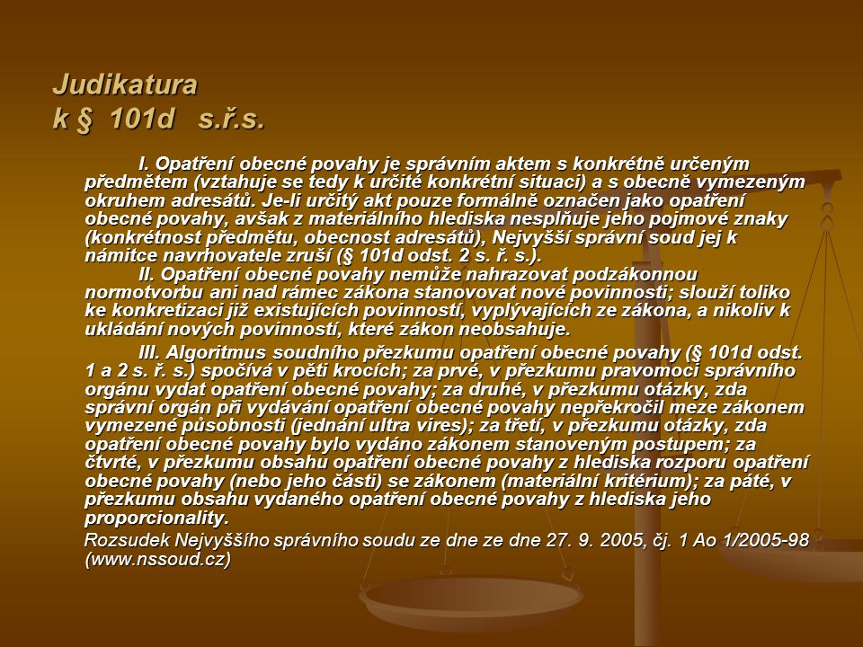 Judikatura k § 101d s.ř.s.