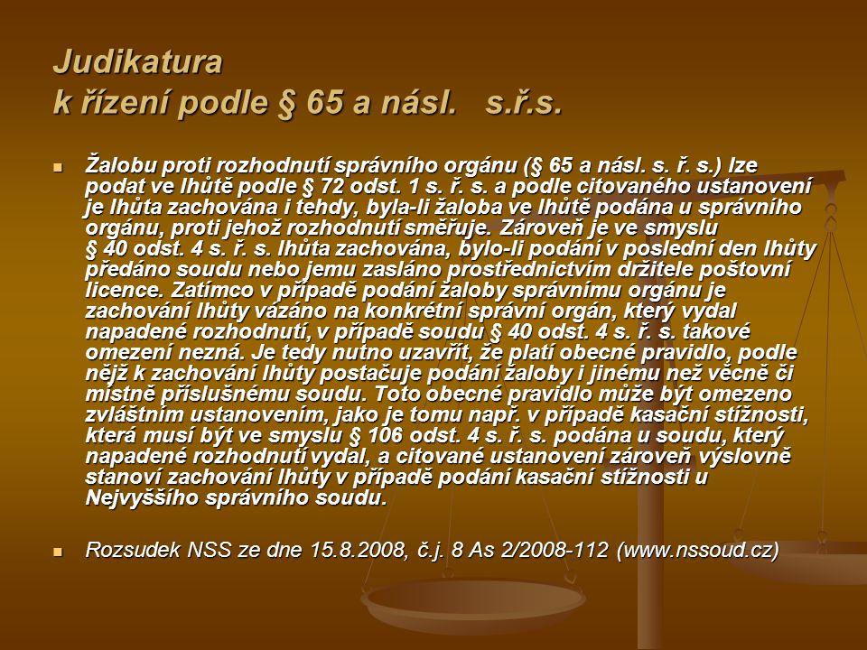 Judikatura k řízení podle § 65 a násl. s.ř.s.