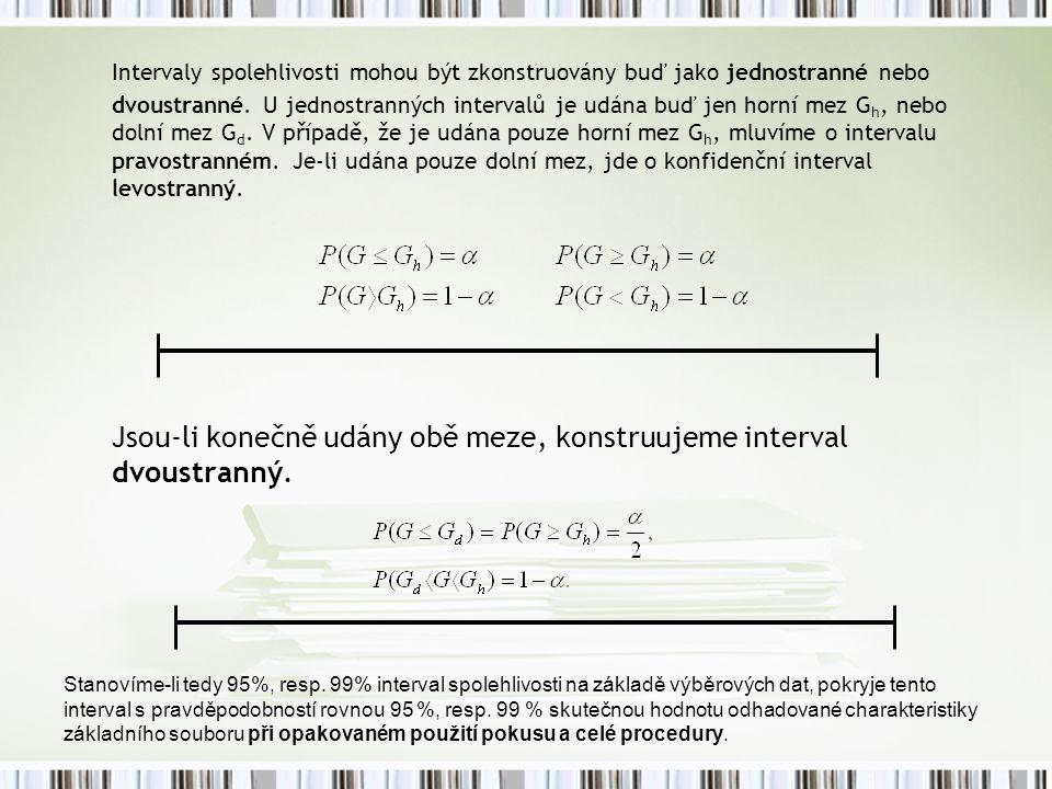 Intervaly spolehlivosti mohou být zkonstruovány buď jako jednostranné nebo dvoustranné. U jednostranných intervalů je udána buď jen horní mez Gh, nebo dolní mez Gd. V případě, že je udána pouze horní mez Gh, mluvíme o intervalu pravostranném. Je-li udána pouze dolní mez, jde o konfidenční interval levostranný.