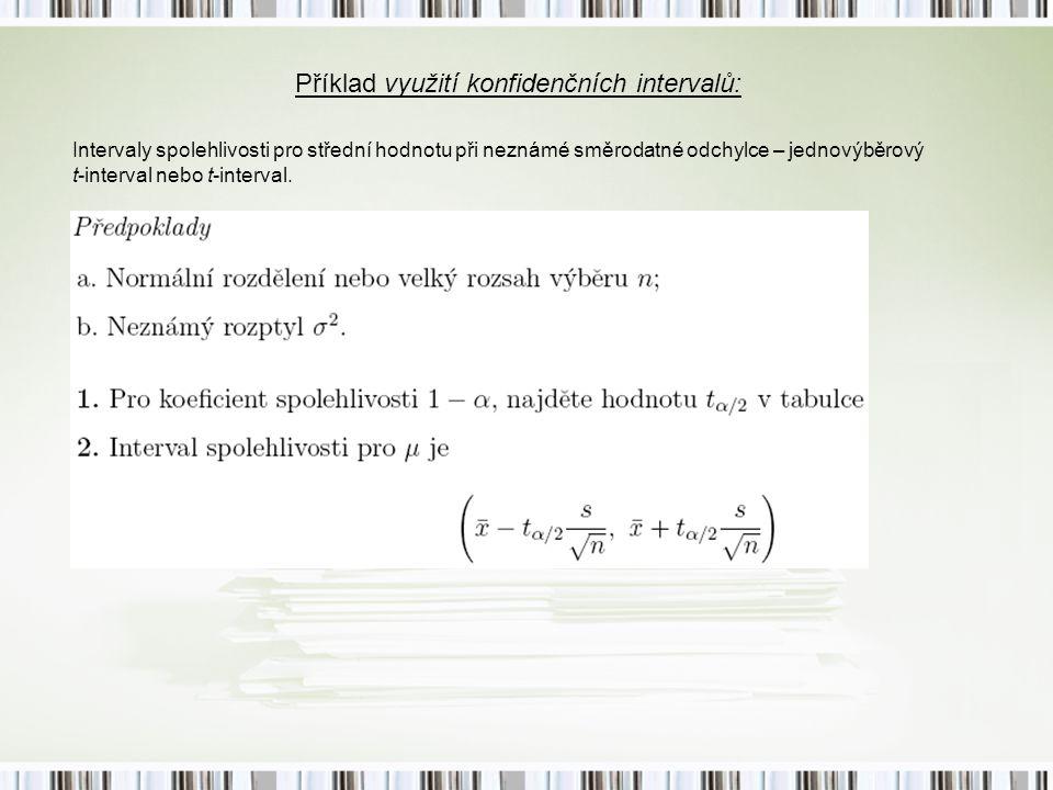 Příklad využití konfidenčních intervalů: