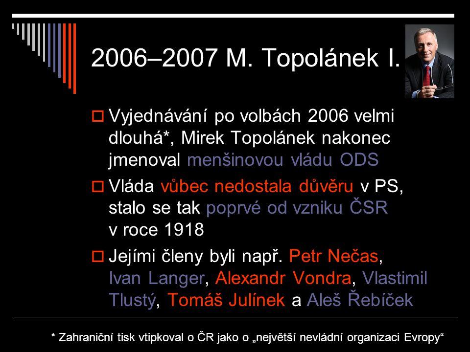 2006–2007 M. Topolánek I. Vyjednávání po volbách 2006 velmi dlouhá*, Mirek Topolánek nakonec jmenoval menšinovou vládu ODS.
