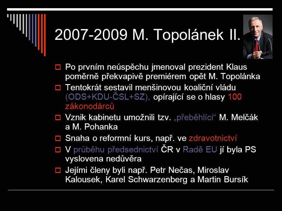 2007-2009 M. Topolánek II. Po prvním neúspěchu jmenoval prezident Klaus poměrně překvapivě premiérem opět M. Topolánka.