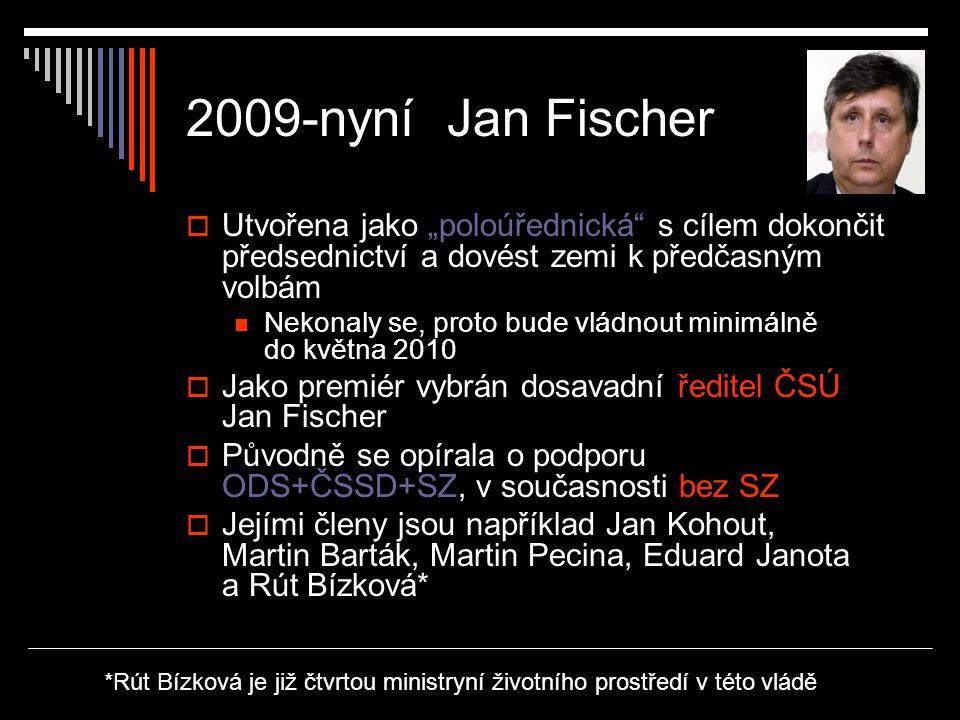 """2009-nyní Jan Fischer Utvořena jako """"poloúřednická s cílem dokončit předsednictví a dovést zemi k předčasným volbám."""